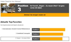 """Screenshot Projekt """"Siegen - zu neuen Ufern"""" auf Platz 3 Stand 17.10.213"""
