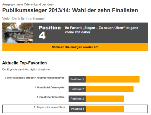 """Screenshot Projekt """"Siegen - zu neuen Ufern"""" auf Platz 4 Stand 16.10.213"""