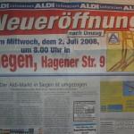 Anzeige ALDI in der Siegener Zeitung 02. Juli 2008