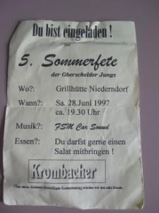 Einldung zu Sommerparty 1997 von den Oberschelder Jungs