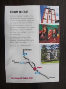 Rueckseite des Handzettels für den NRW-Tag 2010 in Siegen
