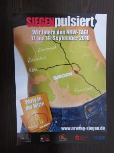 Vorderseite des Handzettels für den NRW-Tag 2010 in Siegen