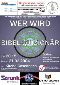 Plakat der Veranstaltung Wer wird Bibel-Quizionär im Jahre 2004